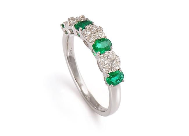 PRSTEN - 4 smaragdy a diamantové květy  28c51219d06